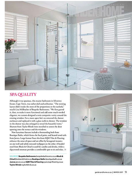 Garden and Home March 2017 pg 51 - Bespoke Bathrooms