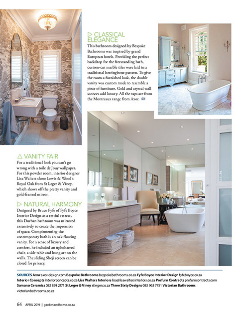 Garden and Home April 2019 pg 64 - Bespoke Bathrooms