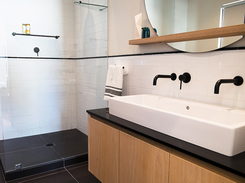 House Van Rooyen Guest Vanity and Shower - Bespoke Bathrooms