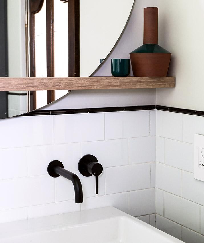 House Van Rooyen Guest Vanity Shelf Detail - Bespoke Bathrooms