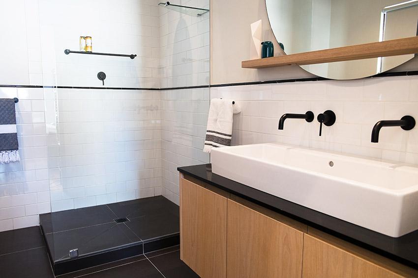 House Van Rooyen Guest Vanity and Shower - Bespoke Bathrooms